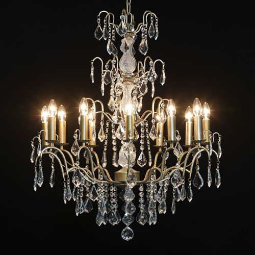 Antique French Cut Glass Gold Chandelier 12 arm